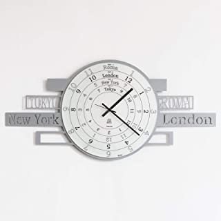 Jet Lag reloj de pared diseño italiano–gris–Londres Nueva York Roma Tokio tiempo
