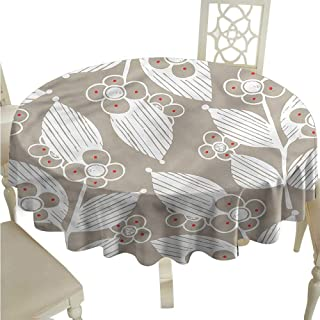 ScottDecor Picnic Cloth Floral,Fragrance Florets Leaves Outdoor Picnics Round Tablecloth D 54