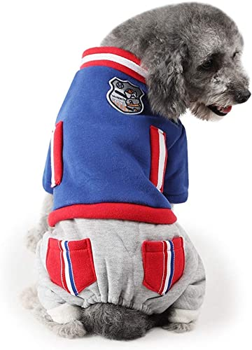 DOSNVG Dog Jumpsuit Warm Pet Clothes Winter Padded Jacket Cat Puppy Costume Hoodies (Farbe   Blau, Größe   M)
