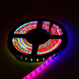 JERCIO Individually addressable 16.4ft 300 Pixels RGBW Flexible LED Strip, with SK6812(Similar to WS2812), Waterproof IP65(Drop Glue), White PCB DC 5V.