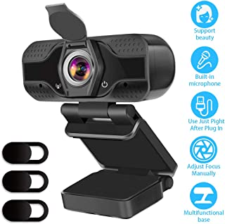 CUUWE HD 1080p Webcam Camera With Microphone PC USB Camera Webcam for Online Teaching/Video Conferencing/Recording and Str...