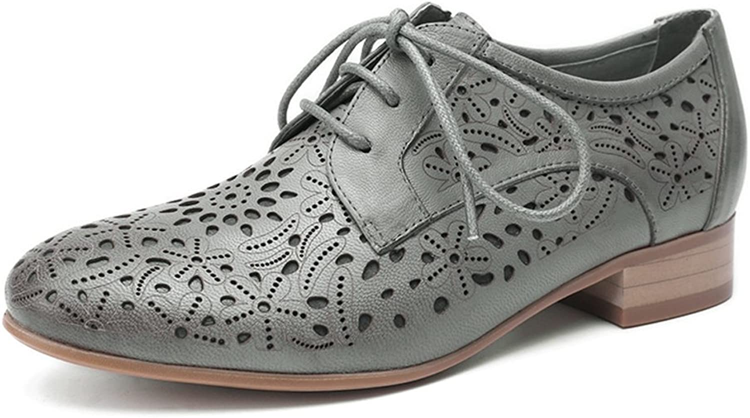 Mona flying Womens Leather Lace-up Dress Oxfords Derby shoes for Womens Ladies Grey