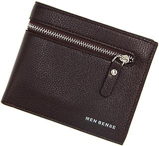 BeniNew men's wallet short large capacity multi-function zipper wallet-Litchi dark coffee color
