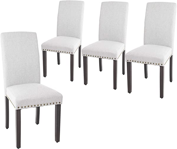 NOBPEINT Dining Chair Upholstered Fabric Dining Chairs With Copper Nails Set Of 4 Light Gray