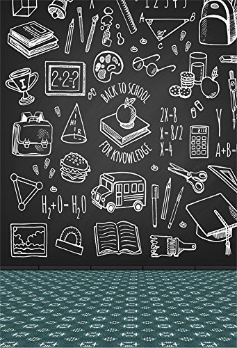 Laeacco 5x7FT Chalk Drawing Blackboard Background Back to School for Knowledge Backdrop School Tools Sketch Icons on Chalkboard Online Course Backdrop School First Day Classroom Scene Student Shooting