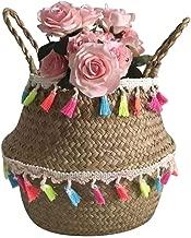 Fine Seagrass Wicker Basket, Wicker Basket, Flower Pot Folding Basket, Dirty Basket for Storage Home Decoration Laundry Picnic Plant Pot Cover