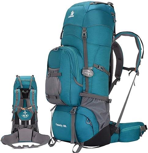 YHEGV Sac de Voyage pour Homme et Femme avec Grande capacité, Sac de Voyage, Sac de randonnée, Sac à Dos, Sac de Voyage pour Homme, 80 l (Couleur Bleu) Vert
