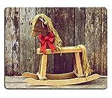 liili Mouse Pad Mousepad de caucho natural colores tonos estilo vintage imagen de un caballo balancín con una imagen brillantes lazo de Navidad de color rojo alrededor de su cuello en un telón de fondo de madera rústico antiguo ID 15273215