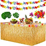 Yojoloin 39Pcs décoration de fête Tropicale hawaïenne,hawaïenne Luau Table Jupe(9ft ),Feuilles de Palmier,Fleurs hawaïennes,Guirlandes de Luau Bannières pour Beach Summer et fête à thème hawaïenne.