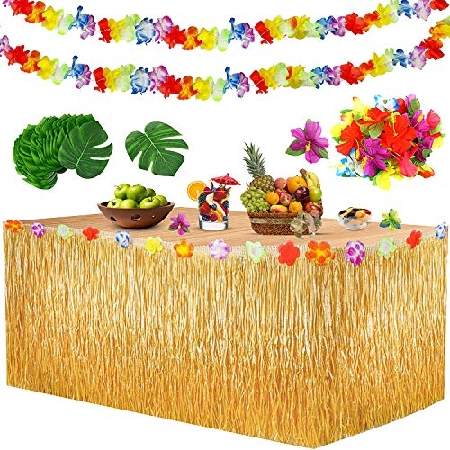 Yojoloin Hawaii Party Dekoration Kit 39 Pcs,Hawaii Luau Tischröcke 9ft, Hawaiianische Blumen,Künstliche Palmenblätter,Luau Hawaii Banner Foto Requisiten Zubehör für DIY Garten Beach Party Dekor.