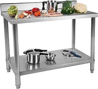 Royal Catering Table De Travail Adossée Cuisine Professionnel Préparation Confection Boucher Avec Tablette RCAT-120/60-N (...