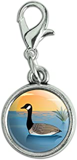 GRAPHICS & MORE Canadian Goose Geese Swimming Canada Antiqued Bracelet Pendant Zipper Pull Charm with Lobster Clasp