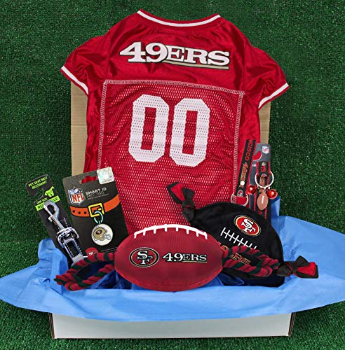 NFL San Francisco 49Ers PET GIFT BOX with 2 Licensed DOG TOYS, 1 Logo-engraved NATURAL DOG TREAT, 1 NFL JERSEY, 1 NFL Puppy Training Bells & 1 Car Seatbelt