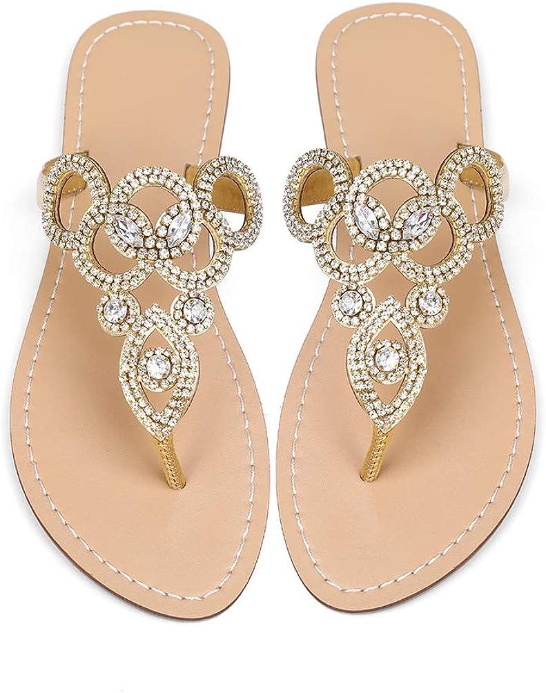 Mayou Women's Rhinestone Flat Sandals