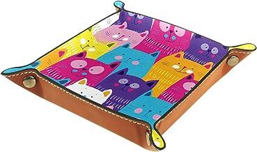 KAMEARI Skórzana taca kolorowe koty geads niebieski różowy fioletowy żółty klucz telefon pudełko na monety skóra bydlęca t...