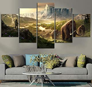 yisanwu 5 Piece Hd Fantasy Art Game Scene Poster Paintings Far Cry Primal Video Game Poster Artwork Wall Paintings for Home Decor 10x15cmx2 10x20cmx2 10x25cmx1 Frame