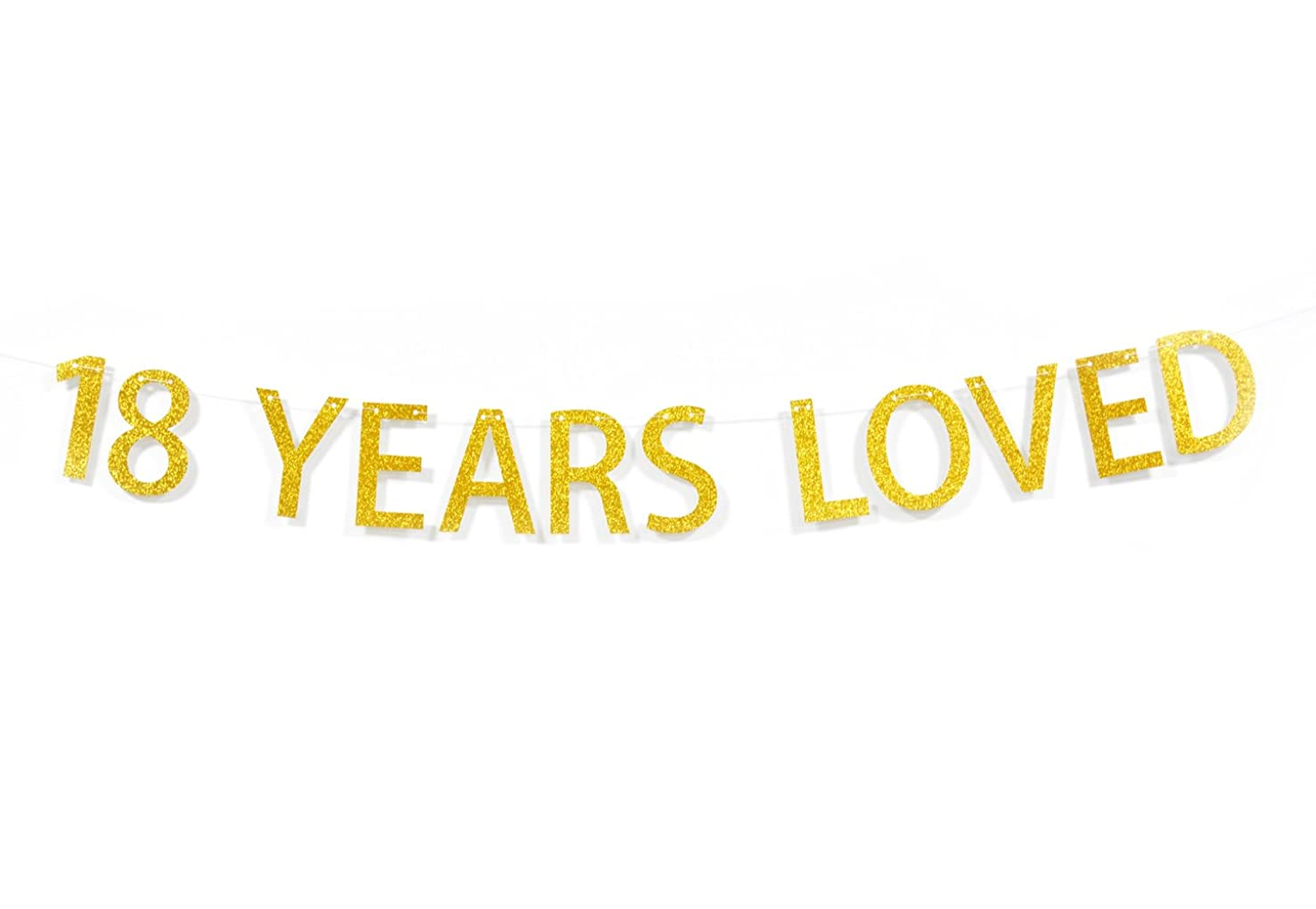 Qttier? 18 Years Loved Gold Glitter Banner for 18th Birthday Anniversary Party Decoration