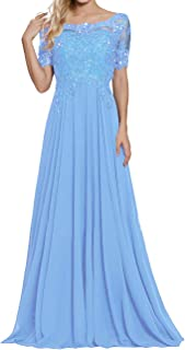 Mother of The Bride Dresses Appliques Beaded Chiffon Evening Formal Dress