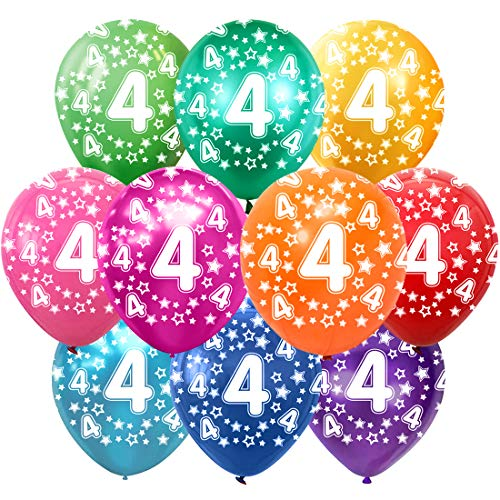 4 Cumpleaños Globos Decoracion Cumpleaños 4 Años Globos de látex, 30 cm, Colores Surtidos, Paquete de 30