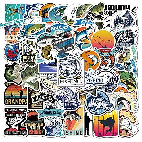 WYZN 50 Pz All'aperto Pesca Cartoon Sticker Personalità Creativo Fai Da Te Bambini Scrapbook Decorazione Notebook Computer Impermeabile Scooter Vinile Adolescente Vsco Graffiti Sticker Decal