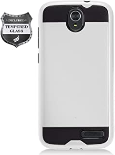 Eaglecell - Compatible with ZTE ZMax Champ Z917, AVID 916, ZMax Grand, Grand X3, Warp 7 - Brushed Style Hybrid Case + Tempered Glass Screen Protector - CS3 Silver
