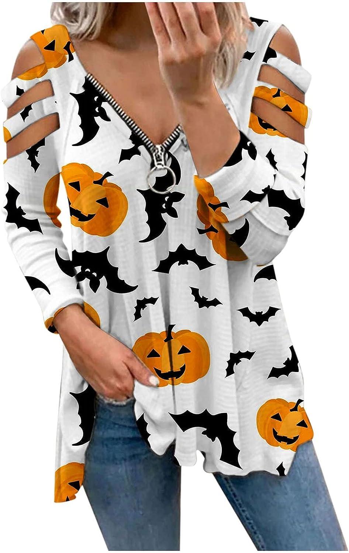 Halloween Shirts for Womens V-Neck Shoulder Lon Zipper excellence Super sale Tops Cold
