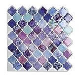 Magictiles Self Adhesive Wall Tile Peel and Stick Backsplash for Kitchen, 10'x10', 6 Tiles (Purple Arabesque)