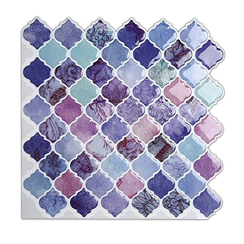 "Magictiles Self Adhesive Wall Tile Peel and Stick Backsplash for Kitchen, 10""x10"", 6 Tiles (Purple Arabesque)"