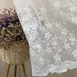 WINYY Romantic White Floral Sheer Curtain Sliding Glass Door & Parlor Decorative Curtain Embroidered Voile Curtain for Living Room Dining Room Rod Pocket Top Window Drape 1 Panel (75' W x 84' L)