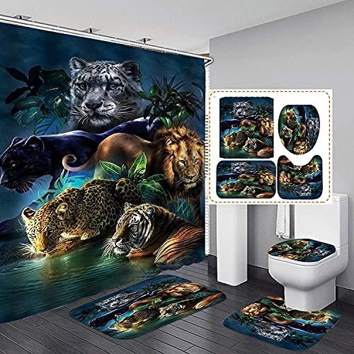 AETTP 4Pcs / Set Leopard Lion Tiger Duschvorhang Wasserdicht Badvorhang Und Teppich Set Badematten Set Badezimmerteppiche Wc Deckel Abdeckung 180x180cm
