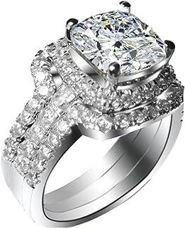 ثلاثة رجل مطلي بالذهب الأبيض 2CT وسادة خاتم الخطوبة الزفاف العصابات NSCD مقلد الماس خواتم مجموعة النساء