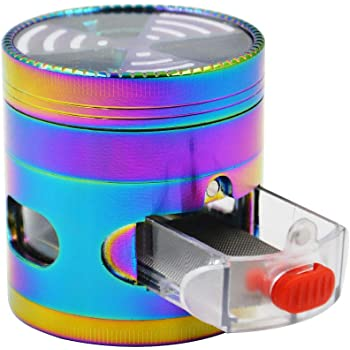 Grinder Herb Grinder 4 Pieces Rainbow Grinders 2.5'' Zinc Alloy Clear top Grinder with Drawer (Colorful)