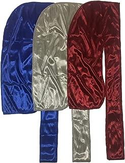 The Mane Silky Durag 3pk XL Straps for 360 Waves Men Durag Colors Options