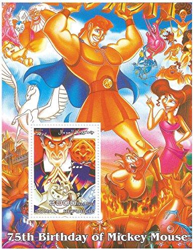 Compleanno 75 ° di Topolino Disney foglio di francobolli per i collezionisti - foglio di menta con 1 marca da bollo / 2004 / Somalia - Hercules