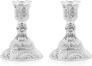 VINCIGANT Świecznik na świece srebrne, metalowe, zestaw 2 sztuk, stojak na świece w stylu vintage, na wesele, Boże Narodze...