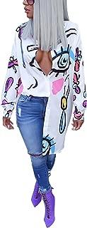 Women's Casual Lips Print Long Sleeve Button Down Tunic Shirt Dress