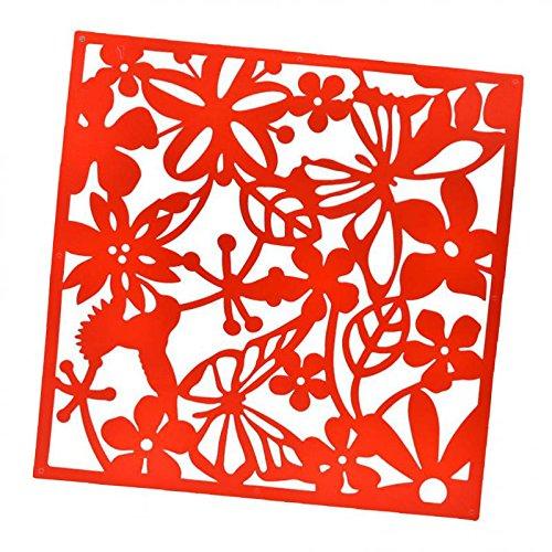 BLOUR Bird Flower Wandaufkleber Hanging Screen Panel Raumteiler Partition Red 4pcs