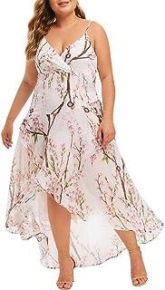 Donsi Women's Sexy Sundress Spaghetti Dress Casual Plus Size V-neck Print Stitching Sling Waist Irregular Dress Swing Casual Midi Dress