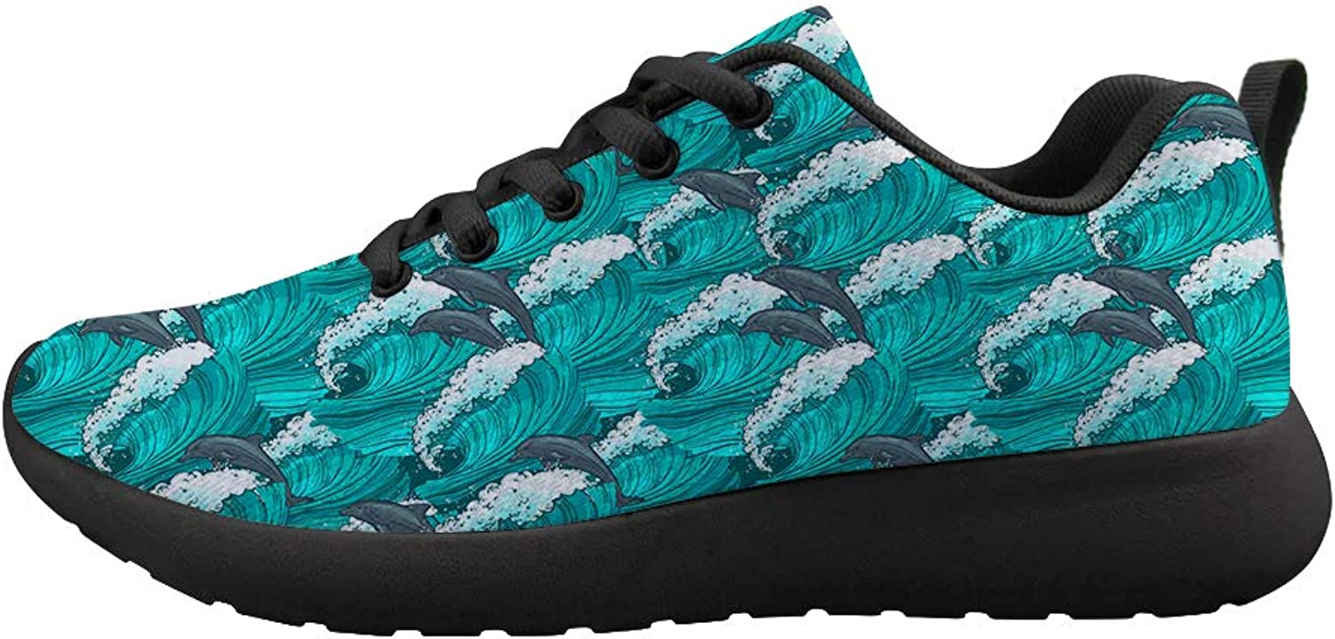 Owaheson Cushioning Sneaker Trail Running shoes Mens Womens Huge Waves Bouncing Dolphins