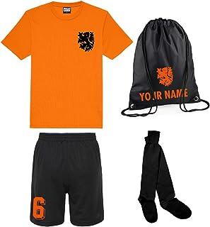 Niños Personalizables Equipo de fútbol Holanda Nederlands Estilo Camiseta de fútbol, Pantalones Cortos, Bolsa y Calcetines