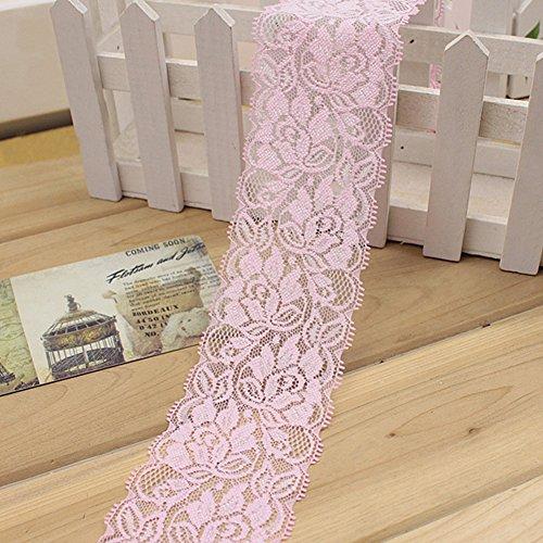 1 M Cinta encaje elástico Flor Cinta estiramiento floral Correa costura Correa encaje Adorno encaje para falda vestir pa Decoración Artesanías bricolaje(Rosa)