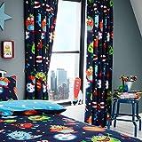 Set de cortinas infantiles - Estampado del espacio - Brilla en la oscuridad - Azul - 168 x 137 cm