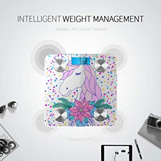 LYAOE Bluetooth Body Fat Scale Head Unicorn Floral Wreath Smart Wireless Scale with LCD Display Measuring Body Weight Bmi and Health Digital Scale