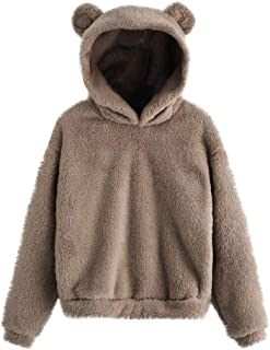Loosebee◕‿◕ Teddy Bear Hoodie Coat for Womens Long Sleeve Fleece Sweatshirt Warm Bear Shape Hoodie Sweater Pullover