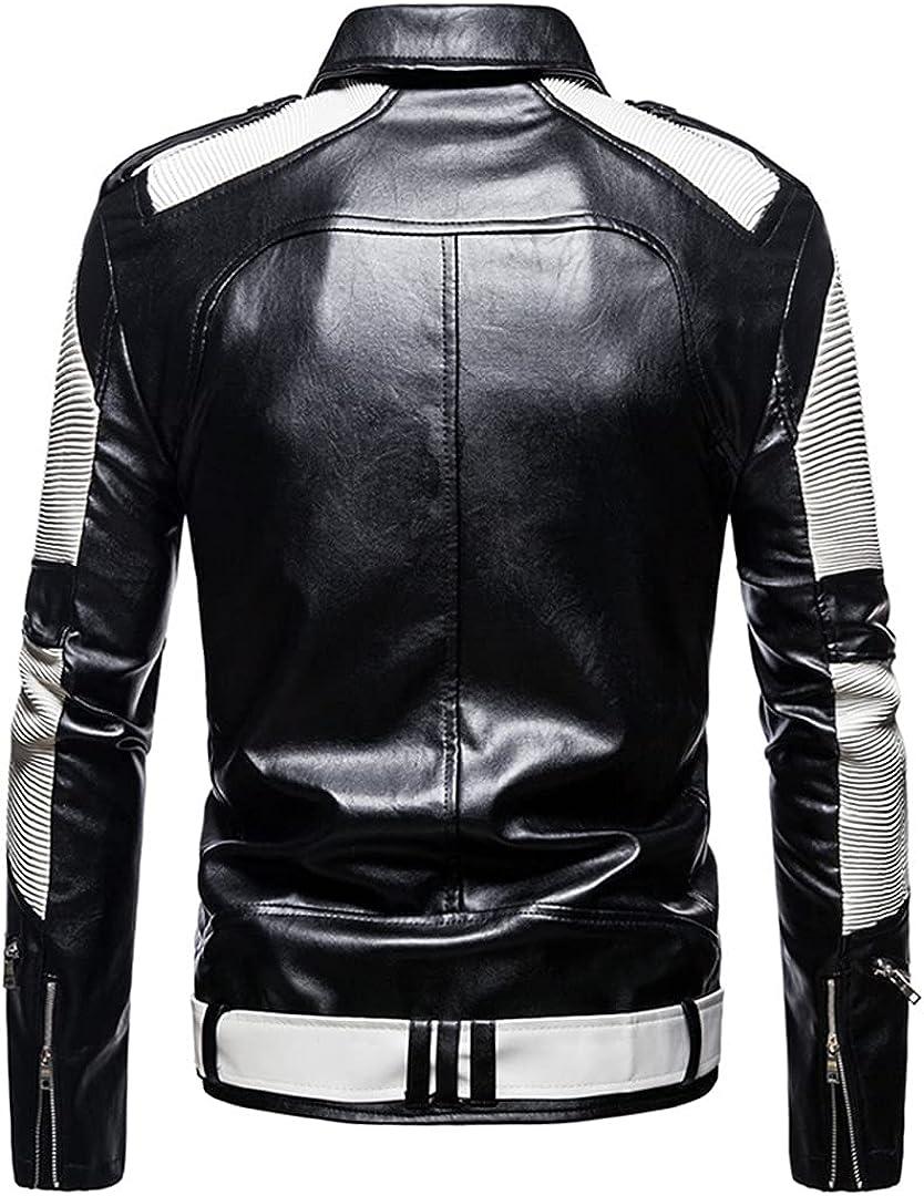 Men Leather Coats Multi Zippers Patchwork Motorcycle Leather Jacket Slim Fit Punk Jacket