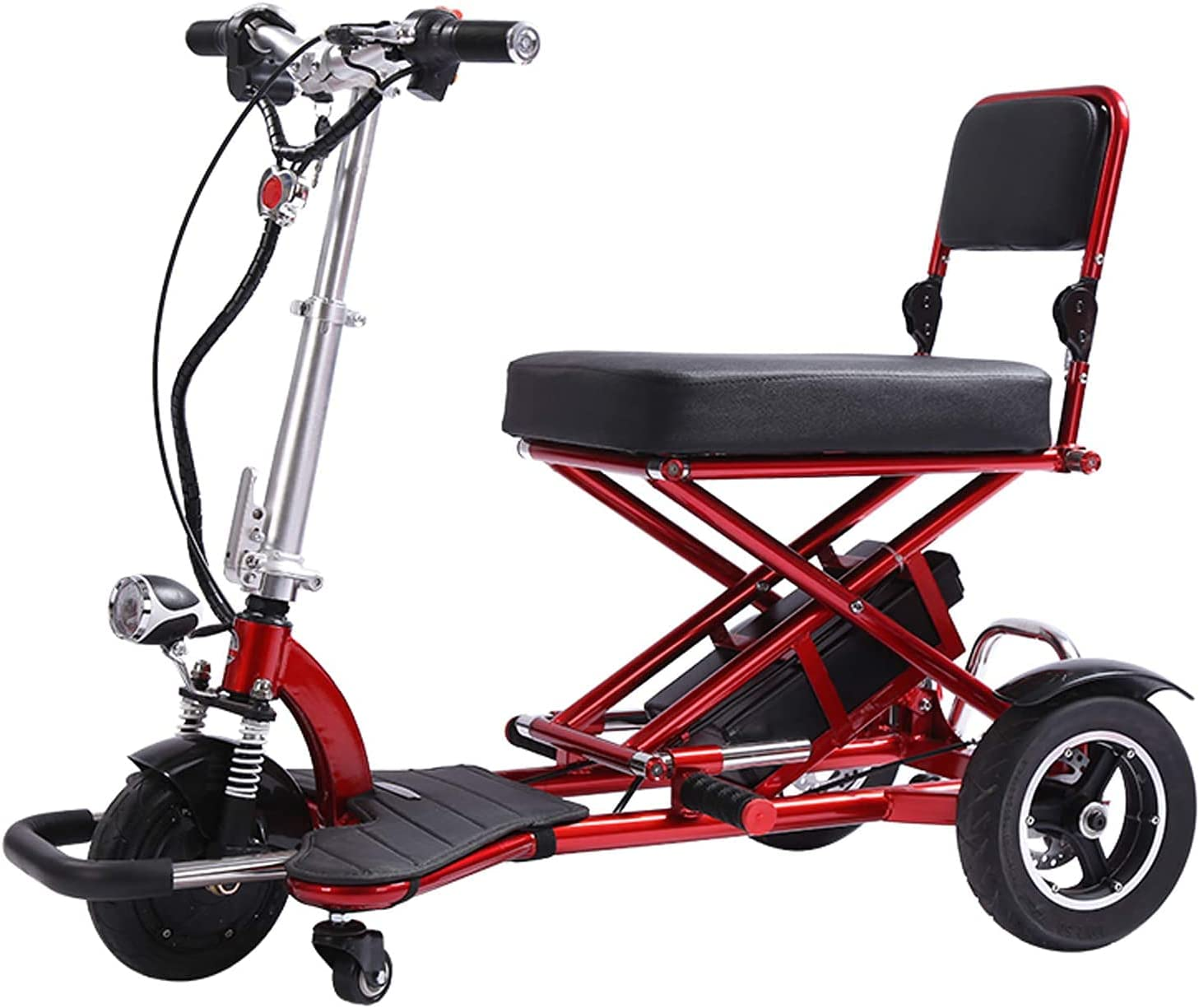 SXFYHXY Scooter Motorizado para Personas Mayores Scooters Plegables De Movilidad Eléctrica 3 Ruedas Soporte para Silla De Ruedas Motorizada 300 Libras De Peso Batería Doble