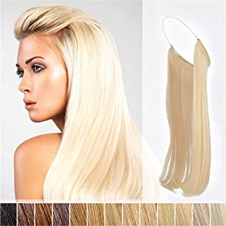 "Invisible Wire Secret Hidden Fish Line Hair Extensions 25cm Halo One Piece Straight Hairpieces Real Human Hair No Clips No Tapes 80g(24"" 18/613#)"