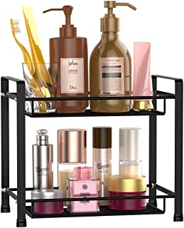 Bathroom Countertop Organizer, F-color 2 Tier Detachable Kitchen Spice Rack Wire Basket Storage Counter Shelf Organizer, Black
