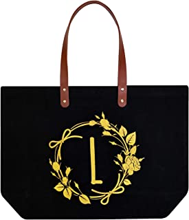 ElegantPark L Initial Monogram Personalized Party Gift Tote Black Large Shoulder Bag with Interior Zip Pocket Canvas