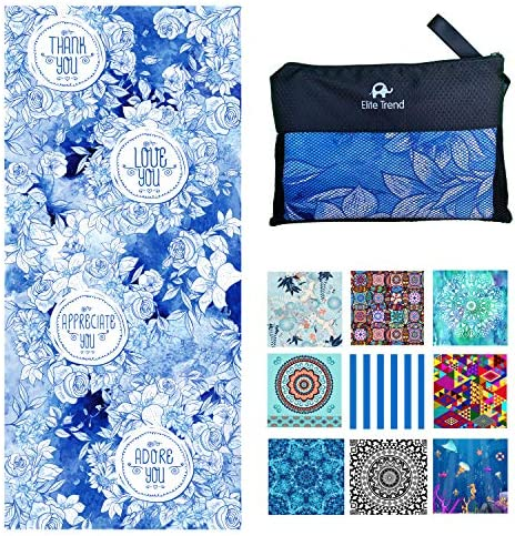 Microfiber Lightweight Beach Towel for Travel Extra Large XL 78x35 200cmx90cm Love You for Swim product image